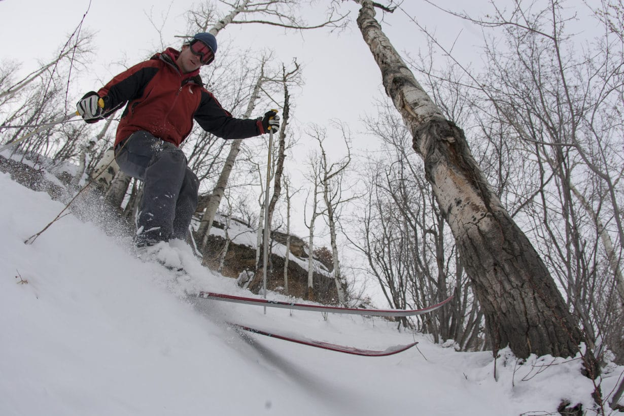 male skier in trees